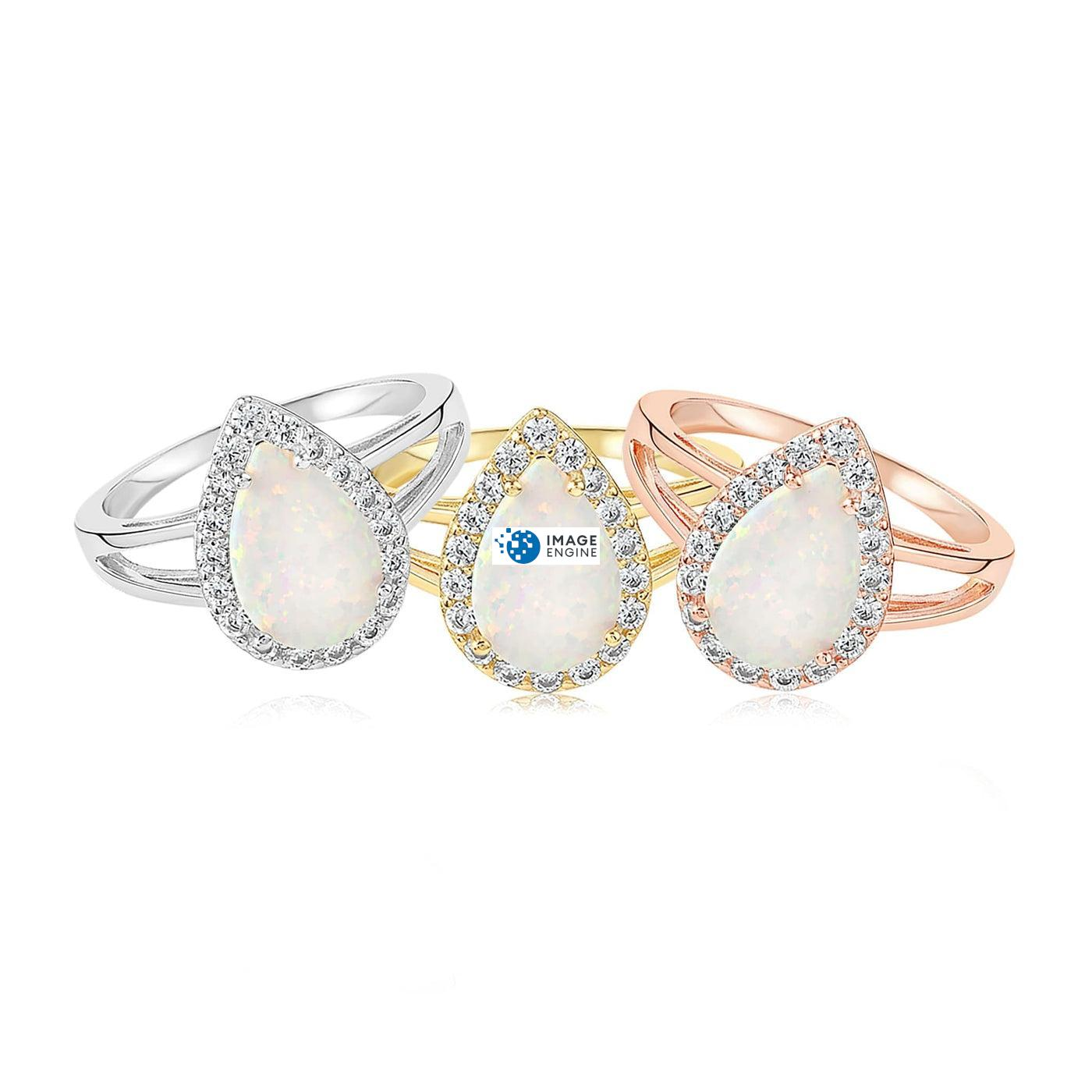 White Fire Champagne Opal Ring - Front View - Collection