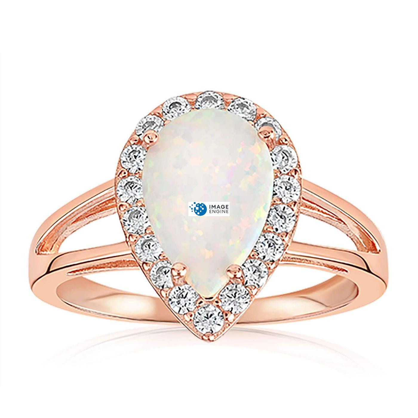 White Fire Champagne Opal Ring - Front View Facing Down - 18K Rose Gold Vermeil