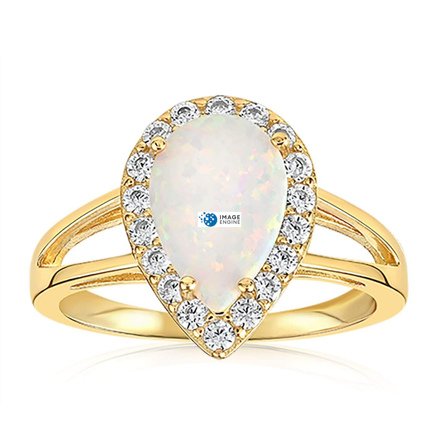 White Fire Champagne Opal Ring - Front View Facing Down - 18K Yellow Gold Vermeil