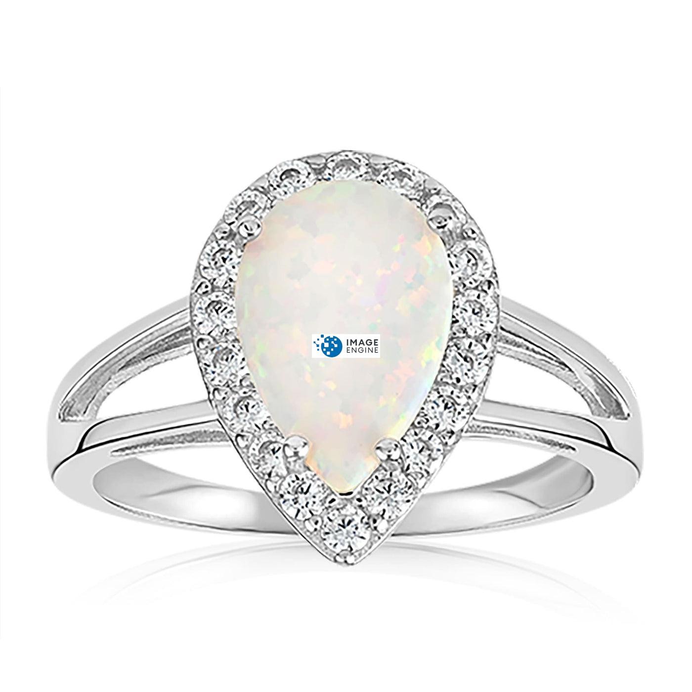 White Fire Champagne Opal Ring - Front View Facing Down - 925 Sterling Silver
