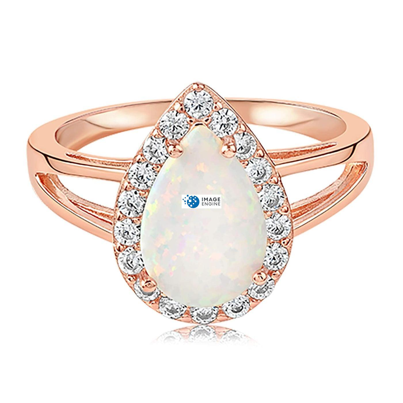 White Fire Champagne Opal Ring - Front View Facing Up - 18K Rose Gold Vermeil