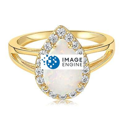 White Fire Champagne Opal Ring - Front View Facing Up - 18K Yellow Gold Vermeil