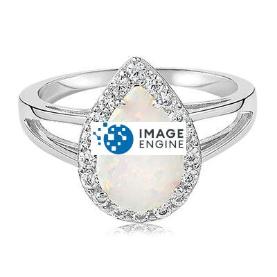 White Fire Champagne Opal Ring - Front View Facing Up - 925 Sterling Silver