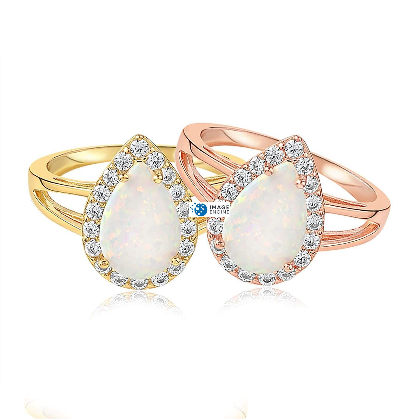 White Fire Champagne Opal Ring - Front View Side by Side - 18K Rose Gold Vermeil and 18K Yellow Gold Vermeil