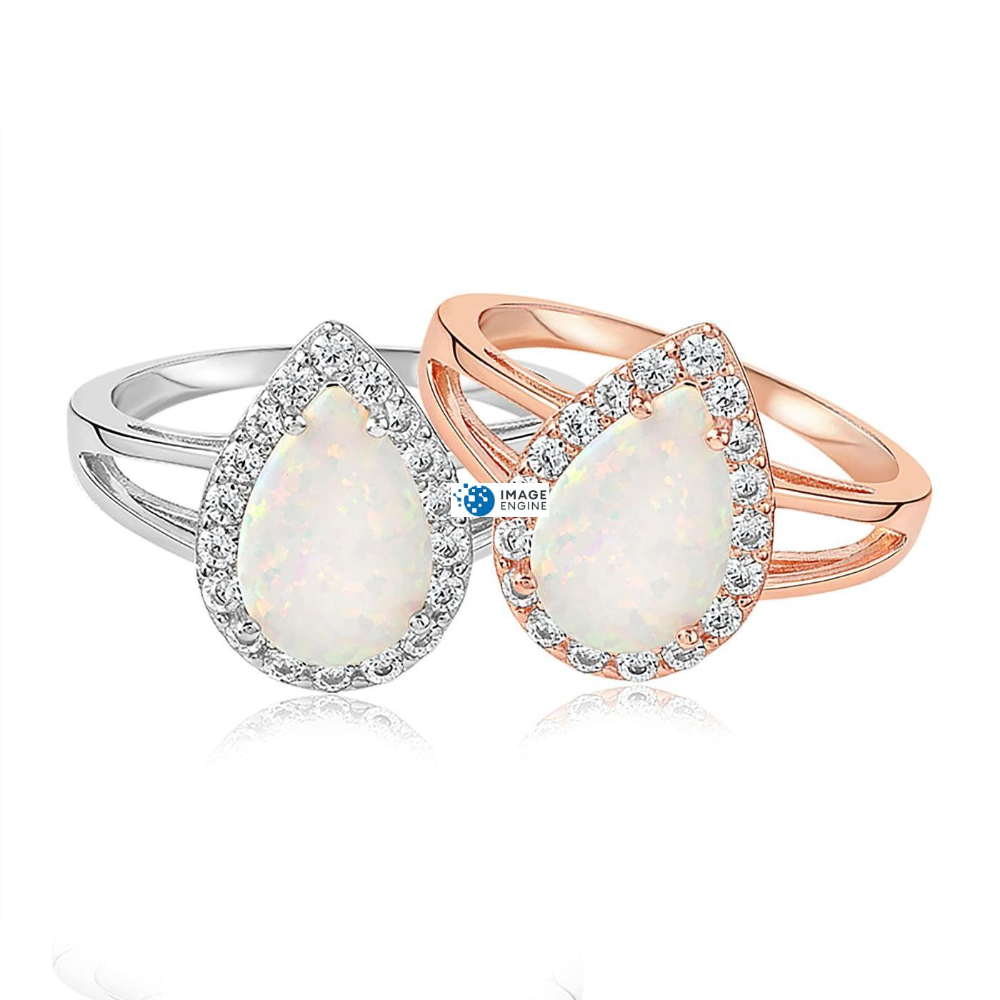White Fire Champagne Opal Ring - Front View Side by Side - 18K Rose Gold Vermeil and 925 Sterling Silver