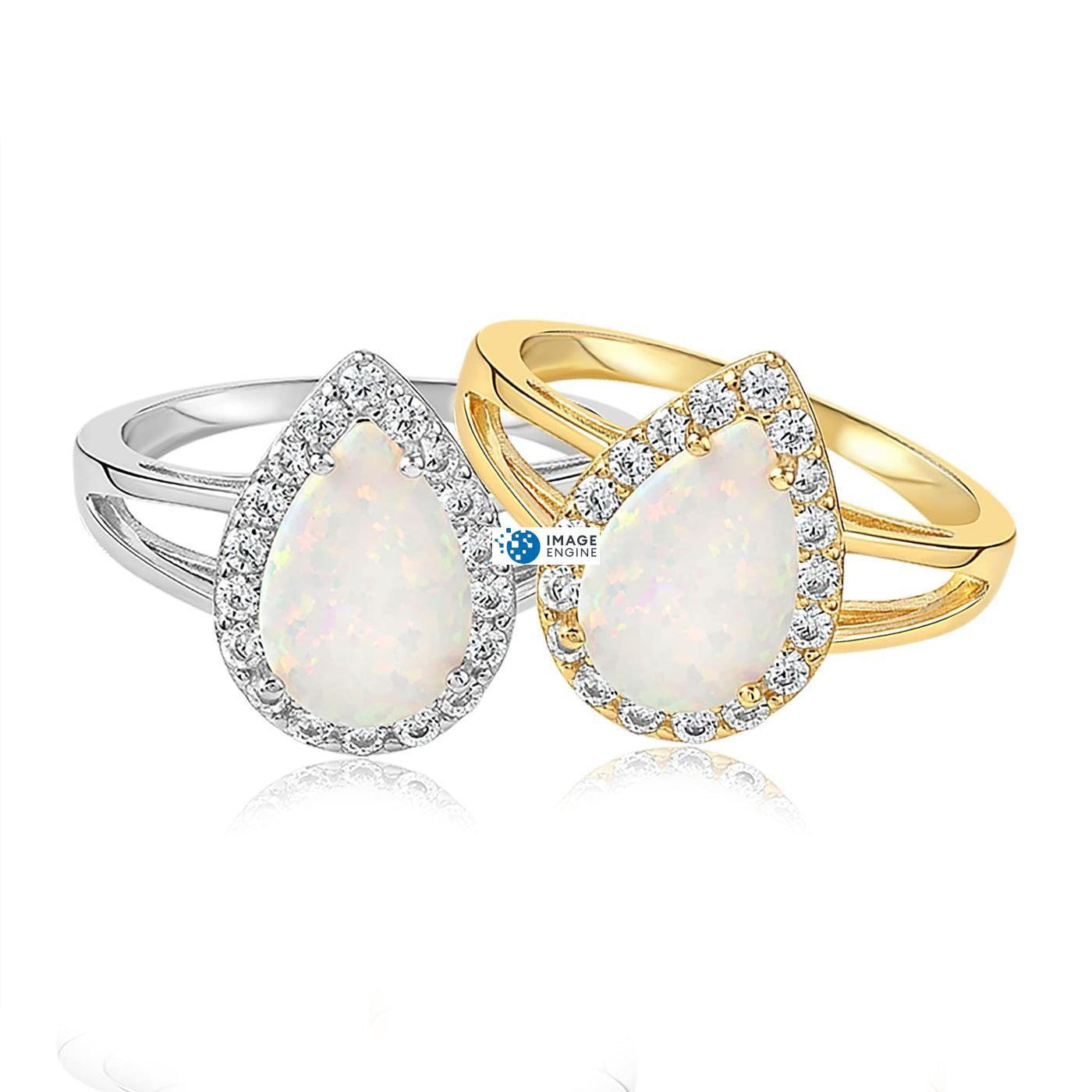 White Fire Champagne Opal Ring - Front View Side by Side - 18K Yellow Gold Vermeil and 925 Sterling Silver