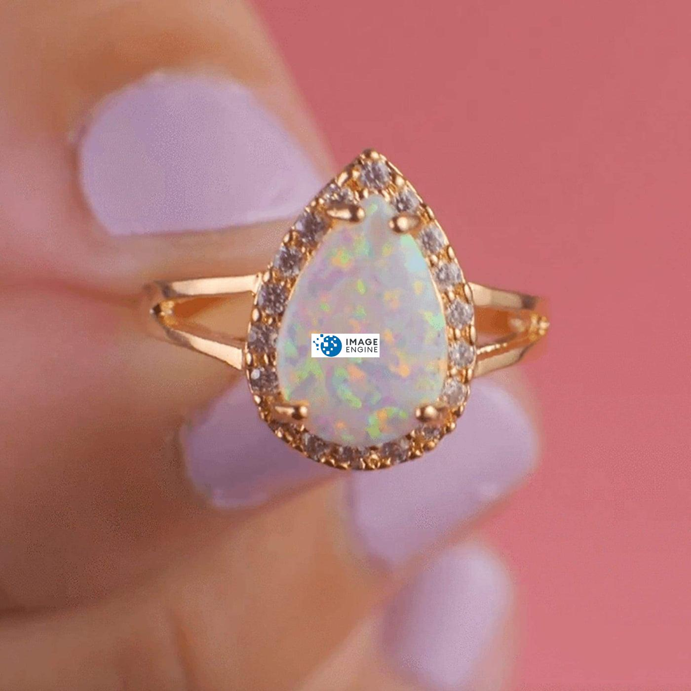 White Fire Champagne Opal Ring - Holding On To - 18K Yellow Gold Vermeil