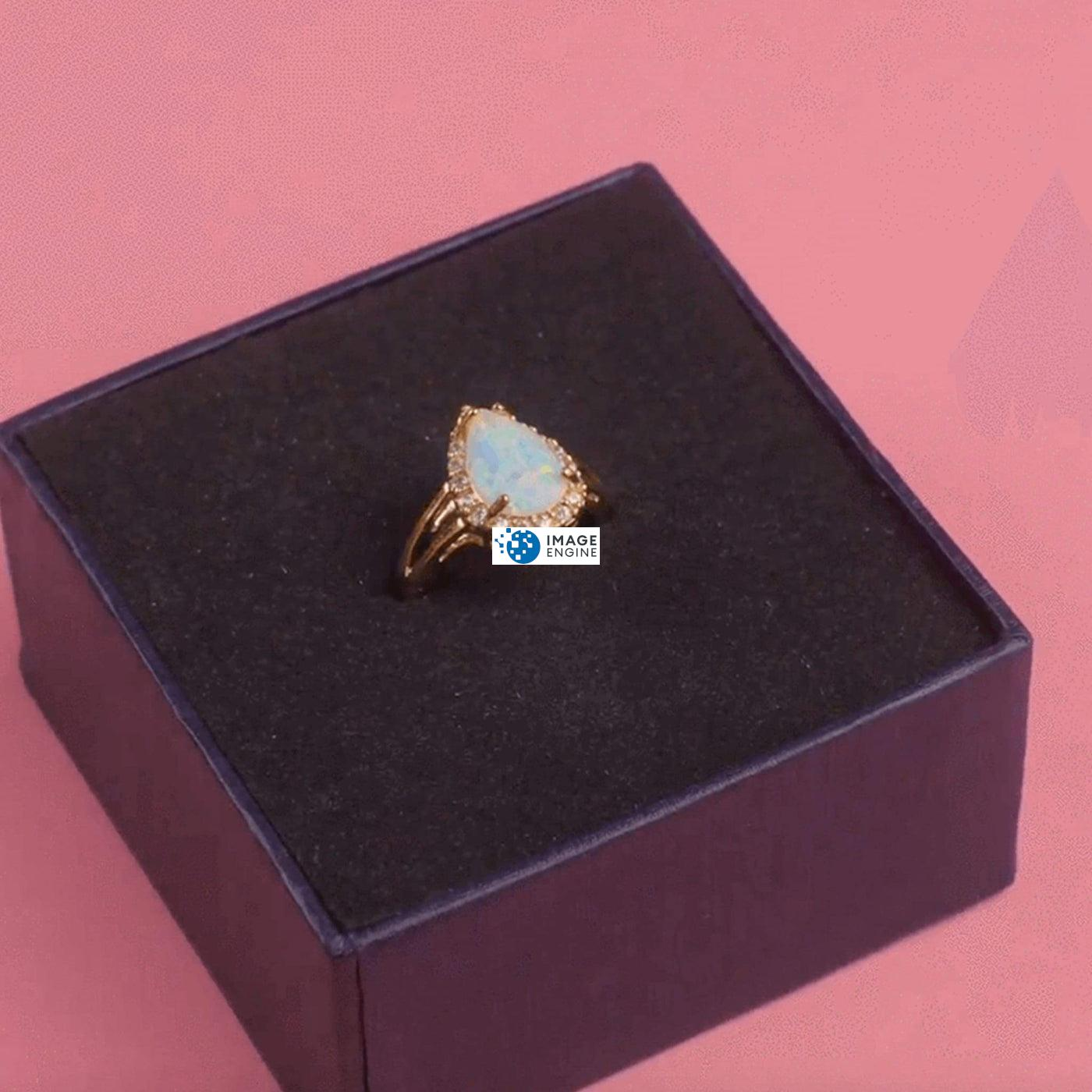 White Fire Champagne Opal Ring - In the Box - 18K Yellow Gold Vermeil