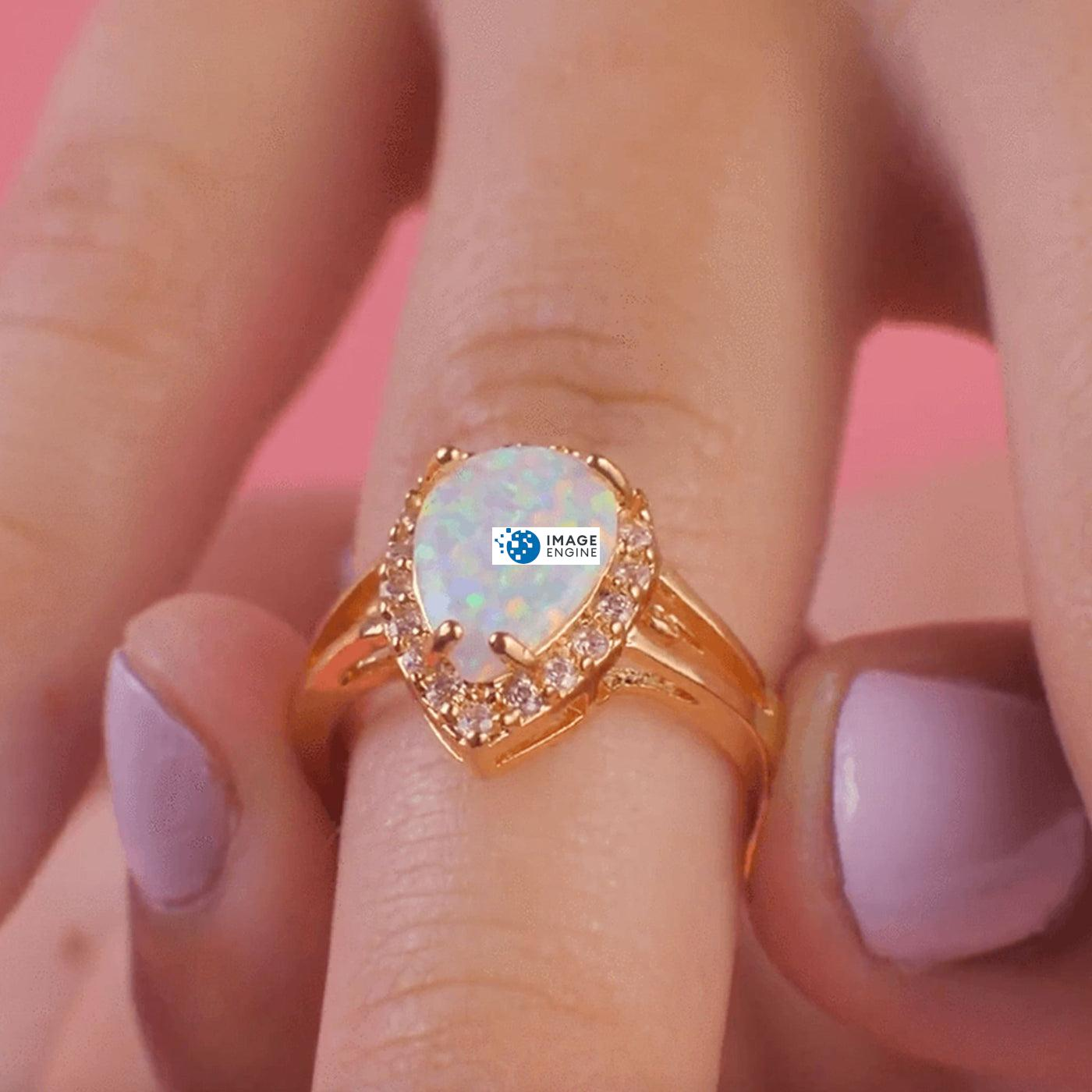 White Fire Champagne Opal Ring - On Ring Finger Zoomed In - 18K Yellow Gold Vermeil