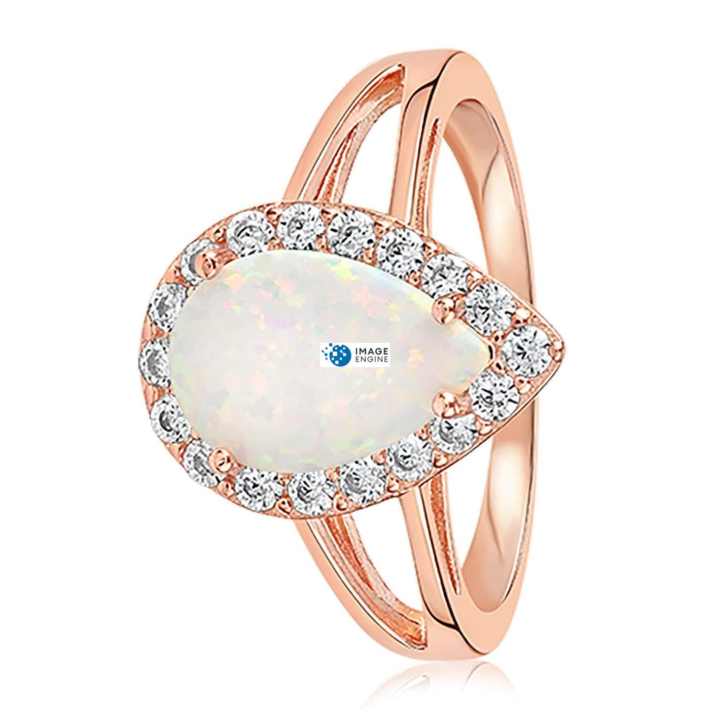 White Fire Champagne Opal Ring - Side View - 18K Rose Gold Vermeil