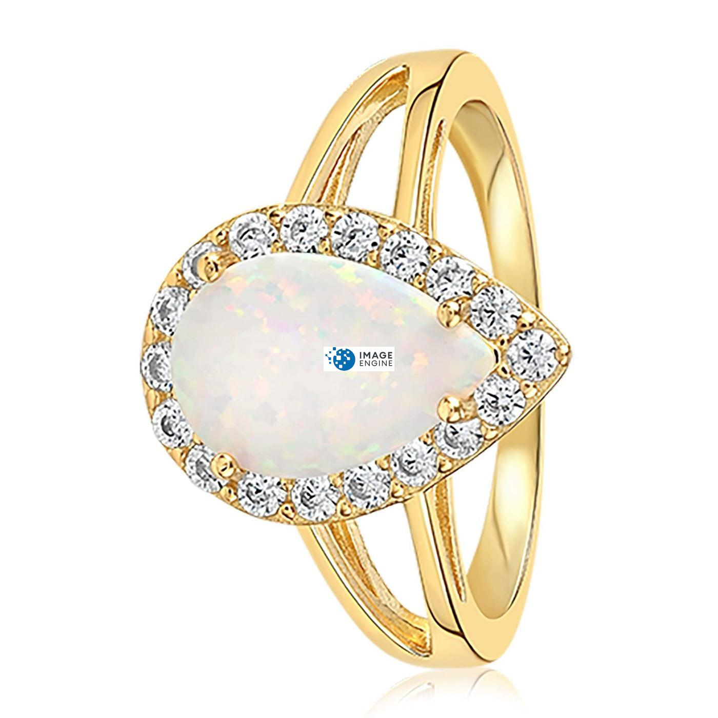 White Fire Champagne Opal Ring - Side View - 18K Yellow Gold Vermeil