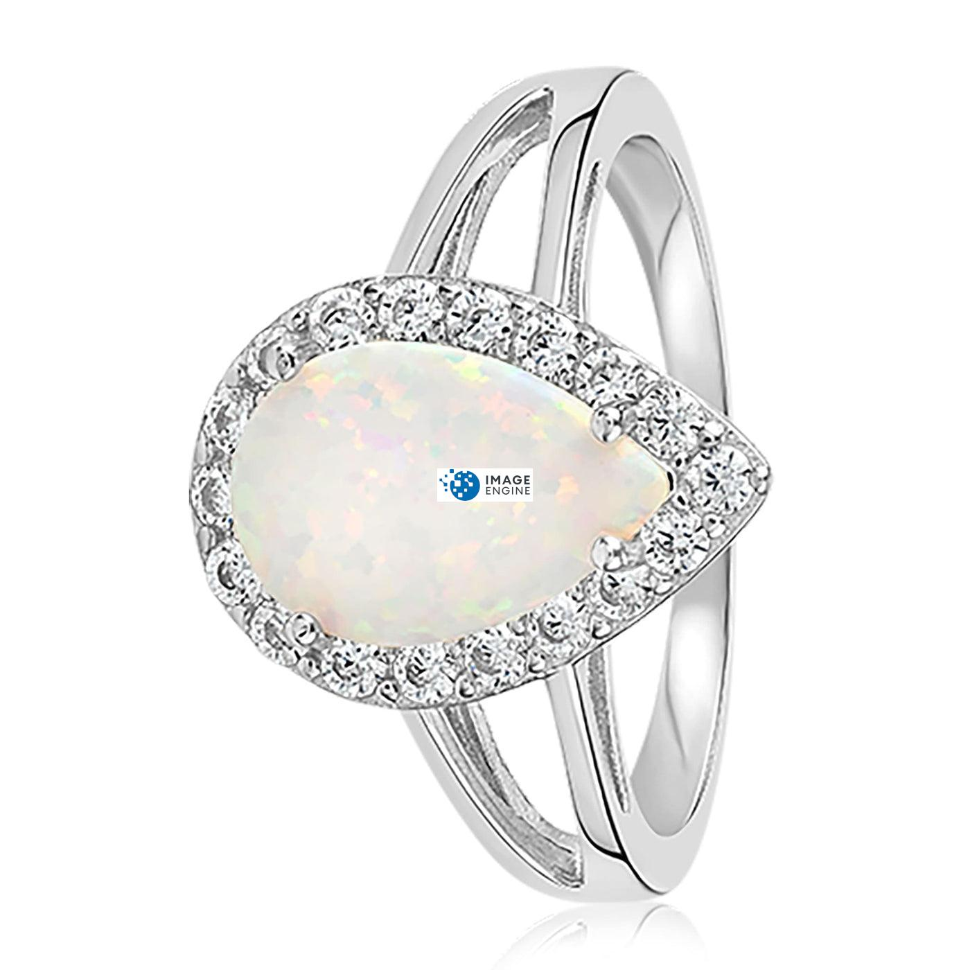 White Fire Champagne Opal Ring - Side View - 925 Sterling Silver