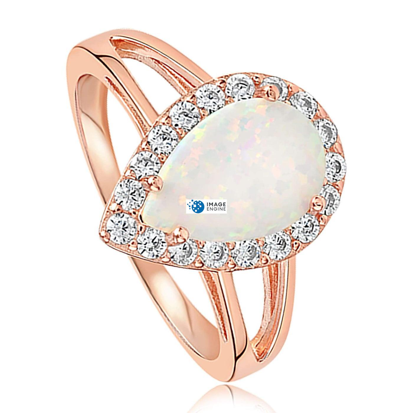 White Fire Champagne Opal Ring - Three Quarter View - 18K Rose Gold Vermeil