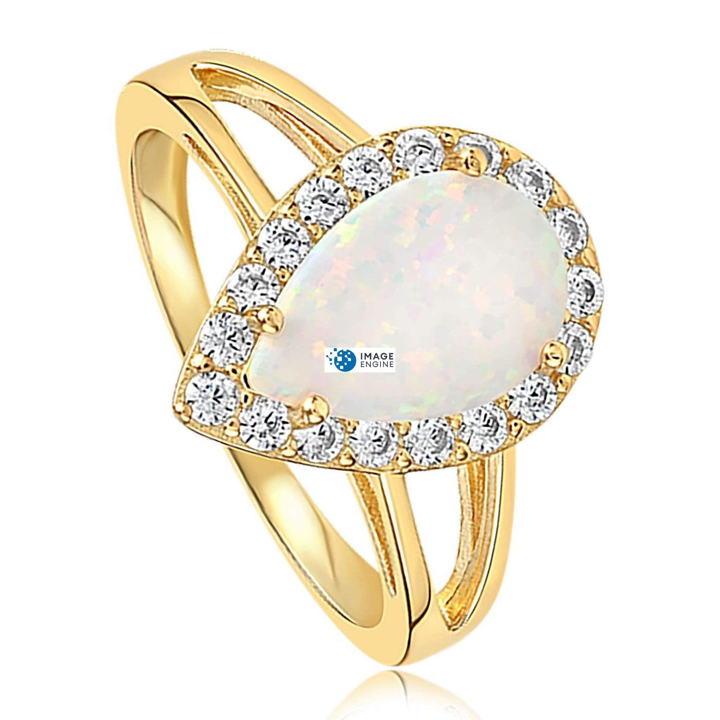 White Fire Champagne Opal Ring - Three Quarter View - 18K Yellow Gold Vermeil
