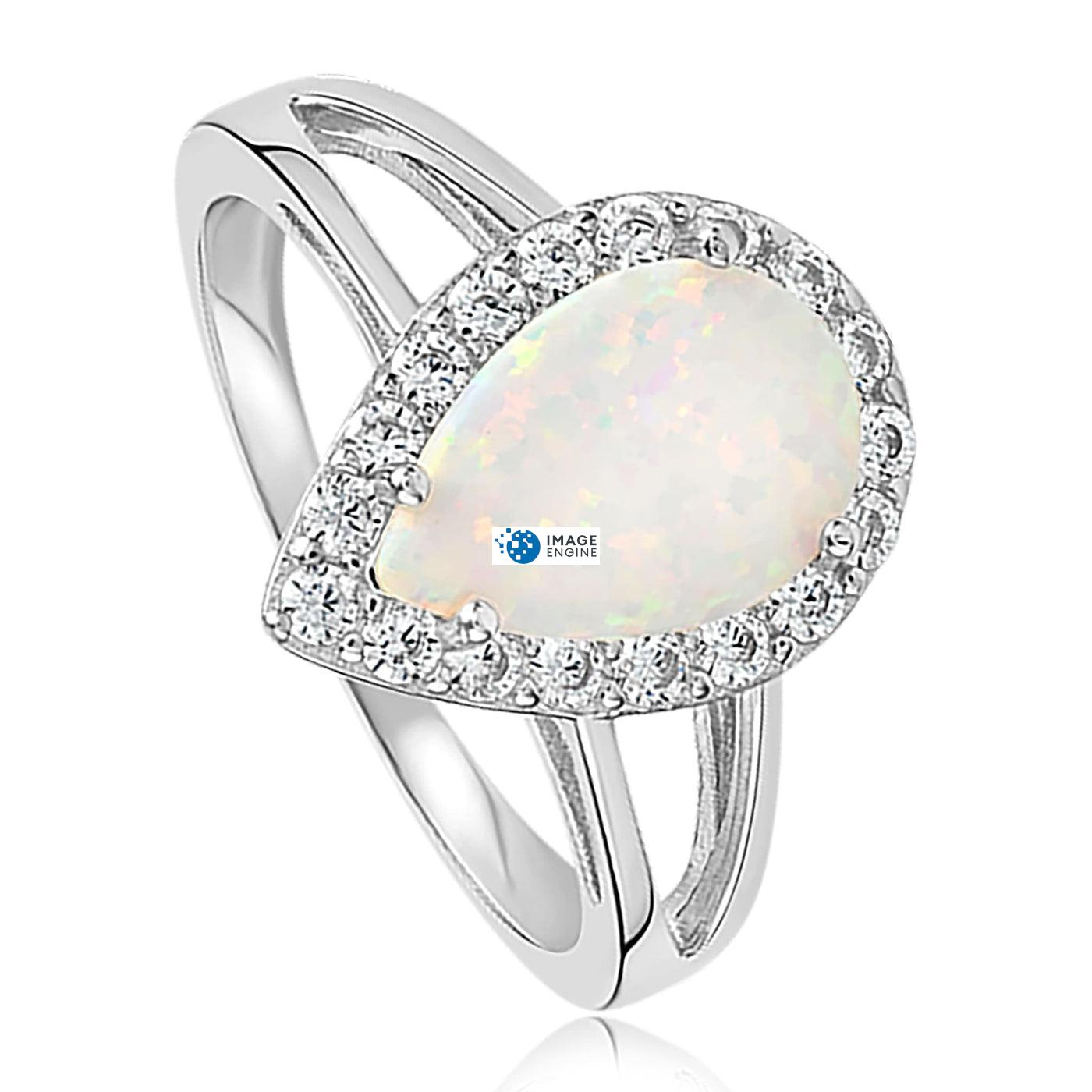 White Fire Champagne Opal Ring - Three Quarter View - 925 Sterling Silver