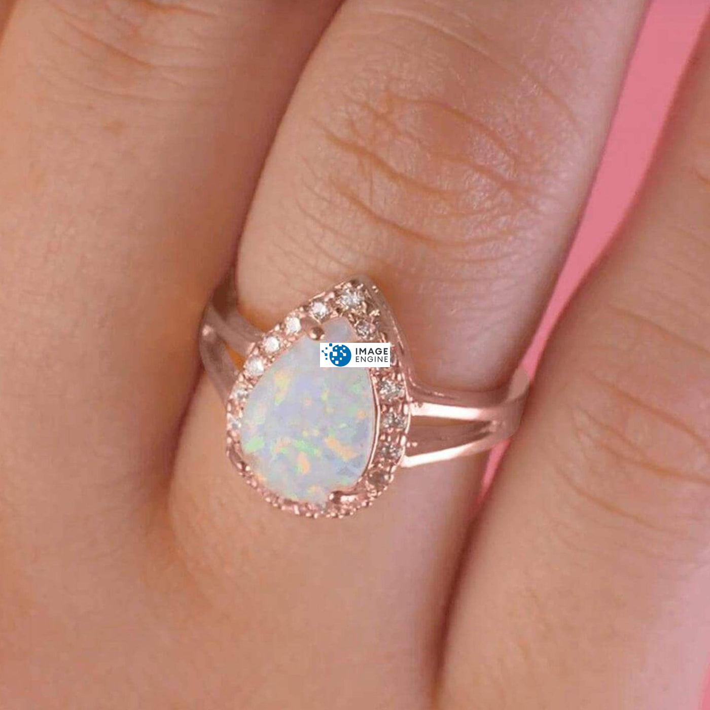 White Fire Champagne Opal Ring - Wearing on Ring Finger - 18K Rose Gold Vermeil