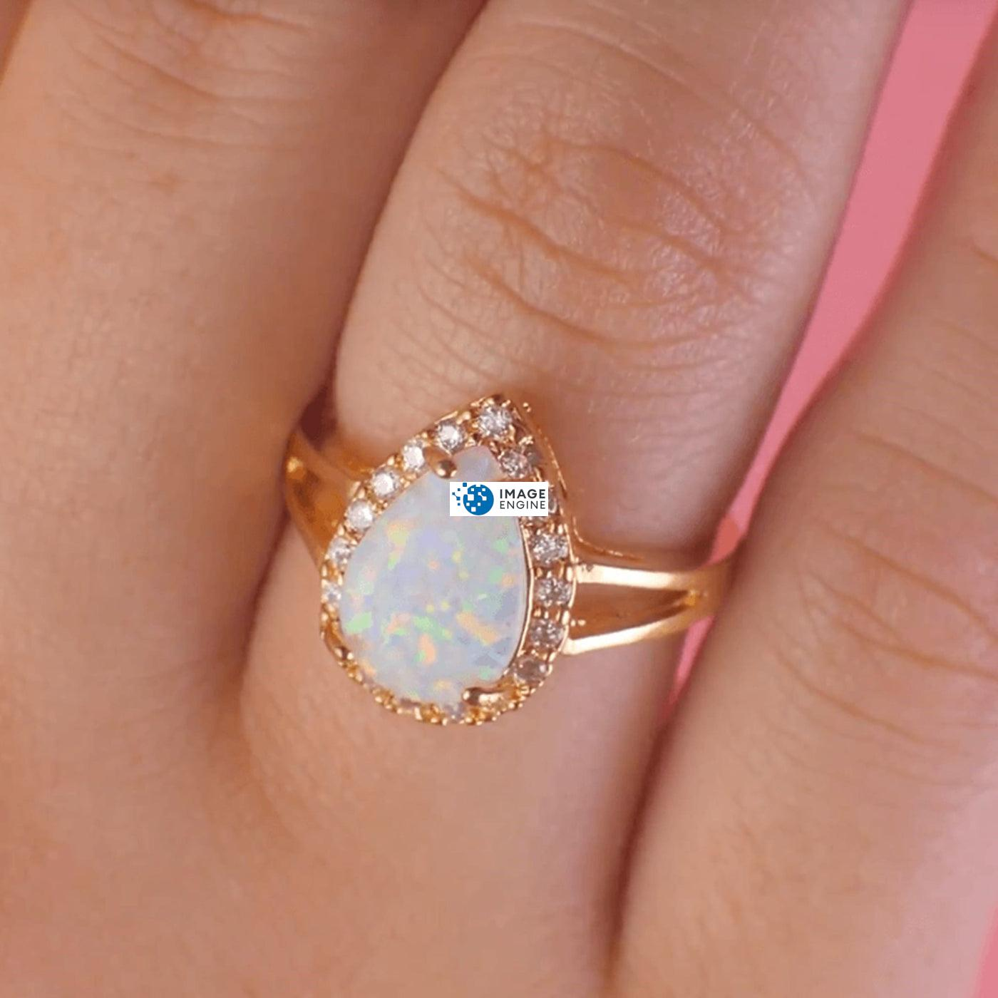 White Fire Champagne Opal Ring - Wearing on Ring Finger - 18K Yellow Gold Vermeil