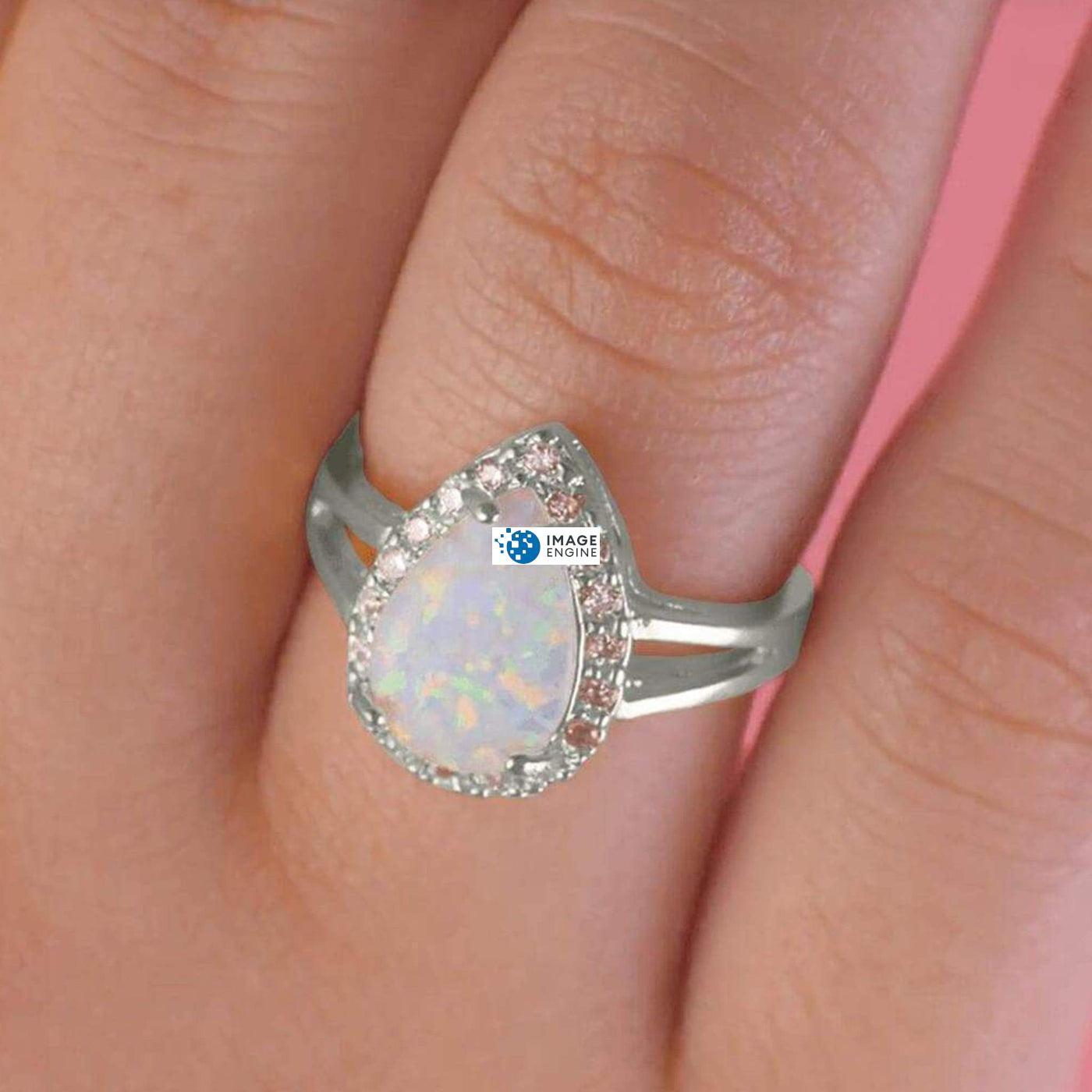 White Fire Champagne Opal Ring - Wearing on Ring Finger - 925 Sterling Silver